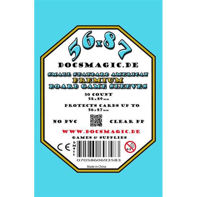 66 63,5 x 88 Standard 50 Docsmagic.de Premium Board Card Game Sleeves Clear