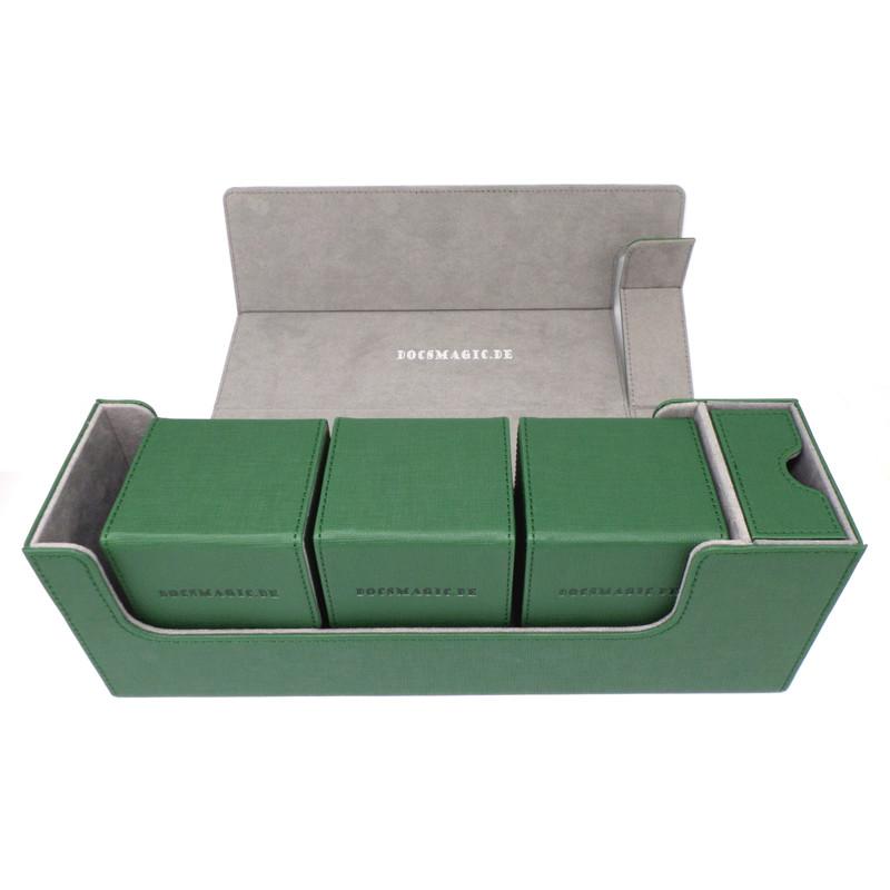Docsmagic.de Premium Magnetic Tray Long Box Dark Green Medium Card Deck Storag